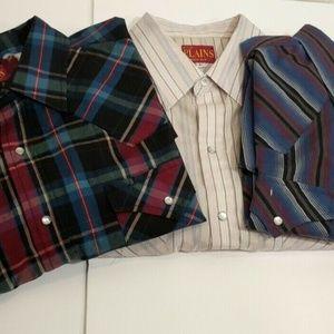 Vintage Plains Western Men's Pearl Snap Shirts Lot